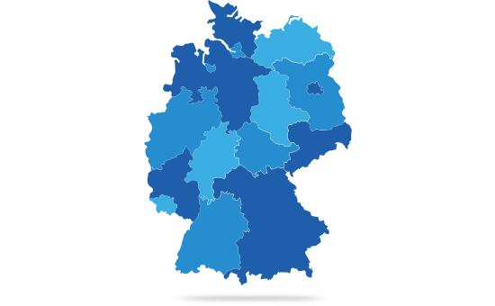 Grafik Karte von Deutschland mit Bundesländern