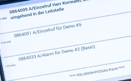 POLARION POCSAG Panel Detailansicht