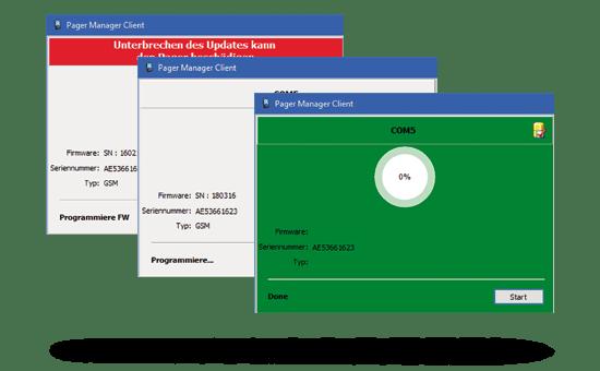 drei Grafiken mit Pager Manager Programmierung