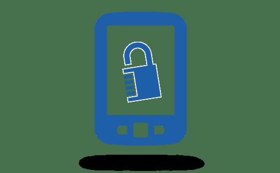 Grafik Smartphone mit Schloss auf Screen