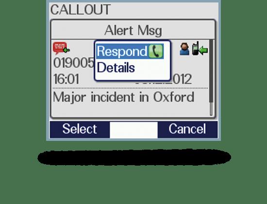 Screenshot Applikation Callout antworten