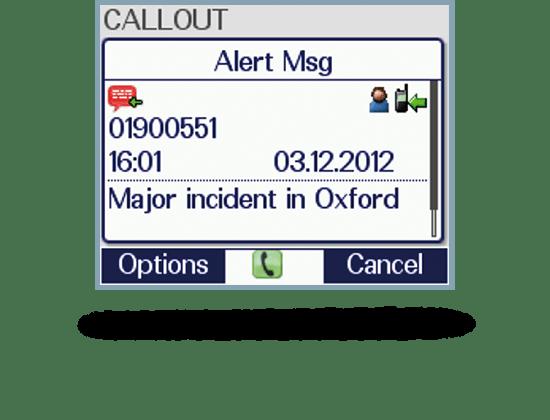 Screenshot Applikation Callout empfangen