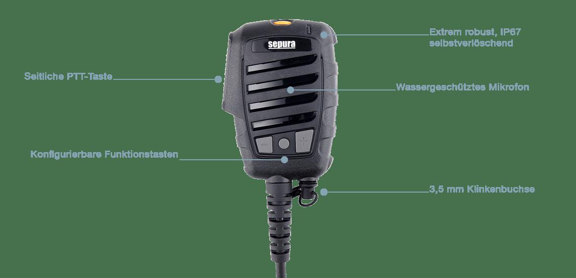 Infografik Sepura Lautsprecher-Mikrofon Advanced