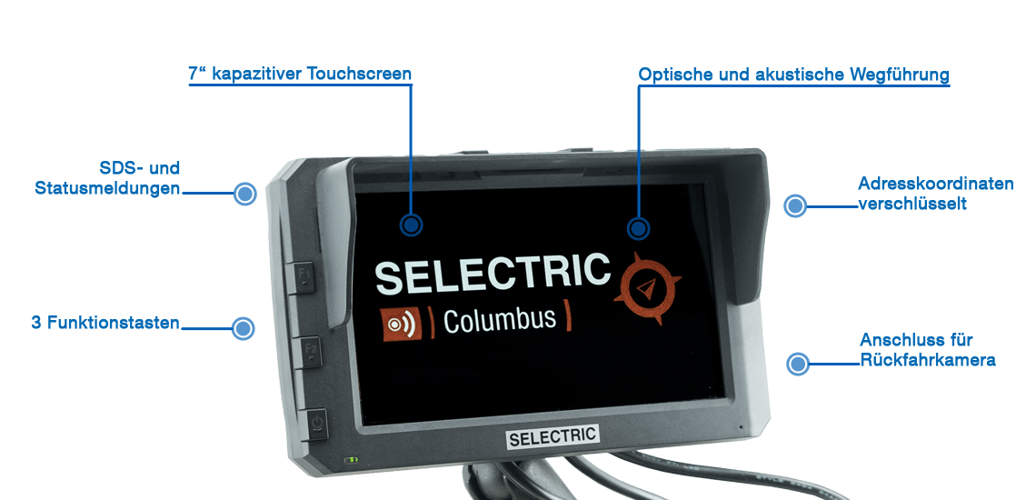 Infografik SELECTRIC Columbus Navigationsgerät