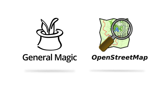 Logos General Magic und Openstreetmap