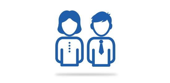 Grafik Frau und Mann im Anzug
